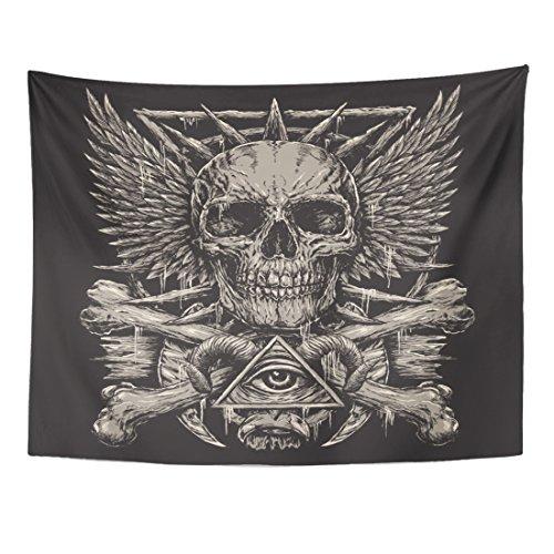 Black Angel Skull Design - TOMPOP Tapestry Demon Heavy Metal Inspired Skull Design on Black Evil Hand Home Decor Wall Hanging for Living Room Bedroom Dorm 60x80 Inches