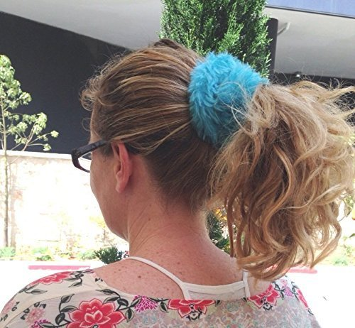 Fluffy Hair Tie Fuzzy Teal Turquoise Scrunchie Large Ponytail Holder Faux Fur Hair Band