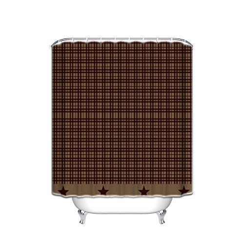 (Crystal Emotion Burgundy Farmhouse Star Shower Curtains Fabric Bathroom Curtain Set with Hooks, 60x72inch)