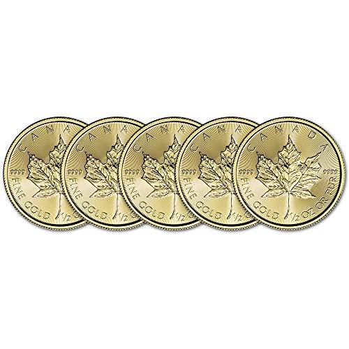 CA 2019 Canada Gold Maple Leaf (1/2 oz) FIVE 5 Brilliant Uncirculated