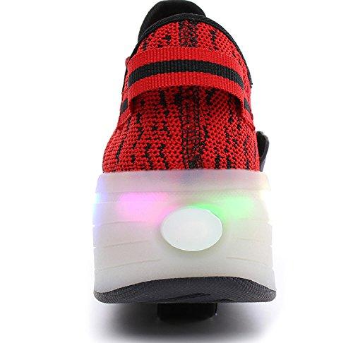 ECOTISH Kinder Junge Skateboard Schuhe Turnschuhe Sportschuhe LED Schuhe mit Rollen Farbwechsel Sneaker Skateboard Rollschuhe