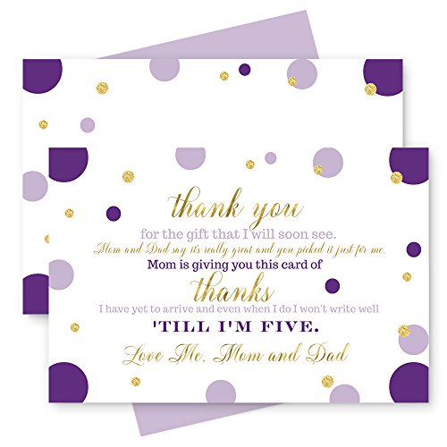 Dots Boxes Printable (Paper Clever Party  Purple and Gold Thank You Cards with Lilac Envelopes - Stationery for Girls Baby Shower - Dazzling Abstract Dot - Set of 15)