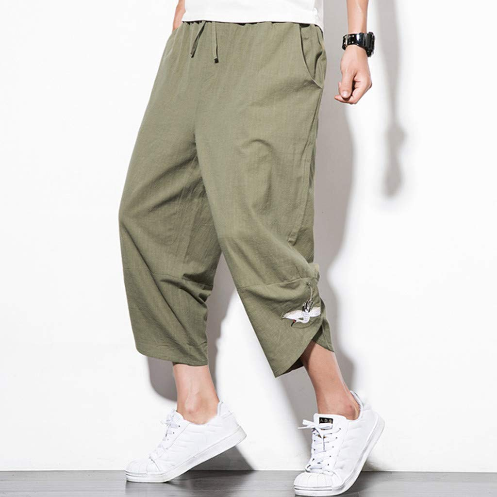 TIANMI Mens Summer Fashion Leisure Cotton and Linen Embroidery Loose Calf-Length Pants