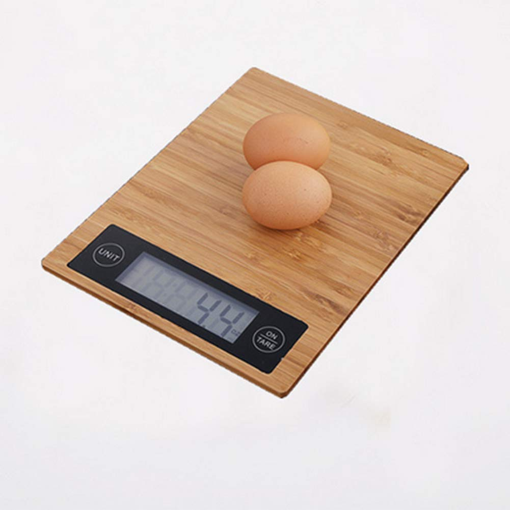 Wood Bamboo Digital Kitchen Scale Multi-Function LCD Display,Unit Conversion,Tare Function Kitchen Scale