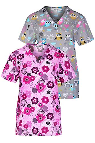 Minty Mint Women's Printed V Neck Medical Scrub Top for sale  Delivered anywhere in USA
