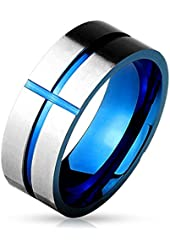 Stainless Steel Men's Two Tone Blue Cross Wedding Band Ring Size 9 - 13