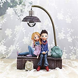VOSAREA Mini Resin Earphones Couple Lamp Living Room Bedroom Decorations Crafts Gifts for Home Lovers Party Valentine's Day (C)