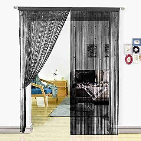 Pantalla de cortinas de cuerdas HSYLYM con cuentas,para decoración del hogar,poliéster,negro,90x200cm
