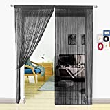 HSYLYM Black String Curtains Beaded Door Curtain Spaghetti Dense Bead Curtains for Doorways,Black,90x200cm(35x79inch)
