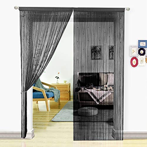 HSYLYM String Curtain with Pearl Beads Dense Fringe Beaded Door Tassel Curtains (39x79, Black) (Wooden Beads Hanging Door)