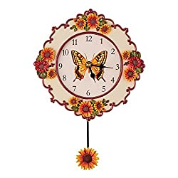 Collections Etc Sunflower Kitchen Decor Hand-Painted Pendulum Wall Clock with Butterfly