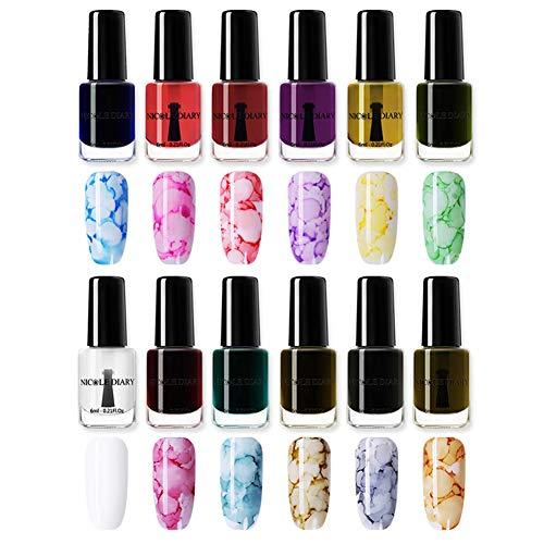 NICOLE DIARY Blossom Nail Varnish Watercolor Marble Nail Ink Gel Flower Nail Art Varnish DIY Design(6ml, 12 colors)