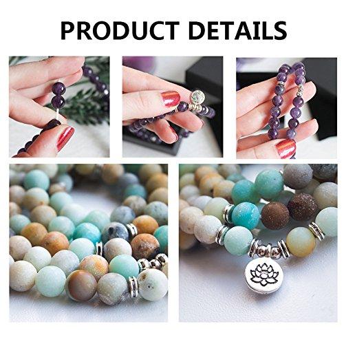 Zhepin 8MM Amazonite 108 Mala Beads Charm Bracelet for Men Women Yoga Bracelet Necklace by Zhepin (Image #5)