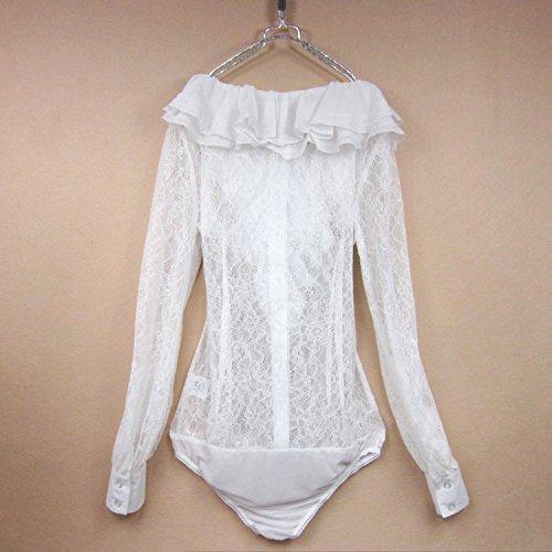 Delgado Clásicas Blanco Con Blusa Mono Mujeres La Lace Del Camisas Ol De Zamme Las Botones Remata UwdOgOp