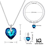 Lydia Queen Swarovski Jewelry Set , Sapphire Heart Pendant Necklace, Tennis Bracelet, Stud Earrings Set Made with SWAROVSKI Crystal Birthday Gifts Anniversary Gifts Fashion Jewelry Set For Women