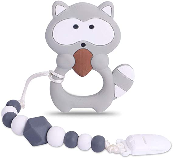 Baby Teething Toys BPA Free Silicone Teether Chew Egg with Pacifier Clip Cute and Effective Pain Relief Raccoo for Stylish Boy or Girl Black