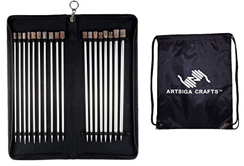 Knitter's Pride Nova Platina 14-inch (35cm) Single Pointed Knitting Needles Set with 1 Artsiga Crafts Project Bag 120608 by Artsiga Crafts Knitter's Pride