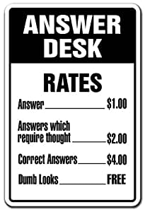 Amazon.com: Answer Desk Novelty Sign | Indoor/Outdoor ...