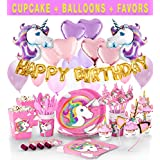 190+ Unicorn Party Supplies - Glittery Unicorn Headband   Disposable Tableware - Serves 10   30 Magical Balloons   24 Pc Unicorn Cupcake Wrappers & Toppers   Party Favors