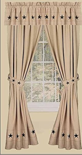 Home Collection by Raghu 2-Piece Danville Star Panels 84 by 86-Inch Nutmeg//Black P8LD0005