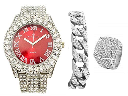 Mens Silver Big Rocks Bezel Bloody-Red Dial with Roman Numerals Fully Iced Out Watch w/Cuban Chain Bracelet & Ring Size 12 - Bloody Red/Silver- ST10327CRS(12) ()