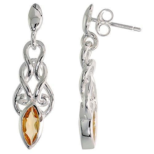 Sterling Silver Celtic Knot Earrings Genuine Gemstone Dangle Post Flawless Finish 1 1 4 inch