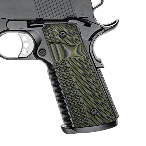 Cool Hand 1911 Slim G10 Grips, Full Size(Government/Commander), Magwell Cut, Big Scoop mag. Release, 3/16 Thin, Ambi Safety Cut, OPS Texture, These Grips Only Work with Short Bushings,OD Green/Black