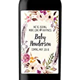 ''More Love and Happiness'' Custom Wine Label Bottle Stickers for Pregnancy Announcement and Baby Shower Party - Gifts for Guests, Event Invitation - Unique Specialized Personalized Bespoke Set of 4