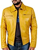 Laverapelle Men's Genuine Lambskin Leather Jacket (Yellow, Extra Small, Polyester Lining) - 1501200