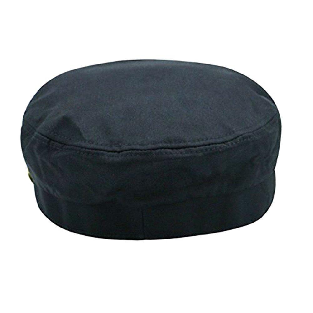 Fitted Army Cap Men Women Unisex Captain Hats Retro Style Plain Flat Caps Hat Balck at Amazon Mens Clothing store: