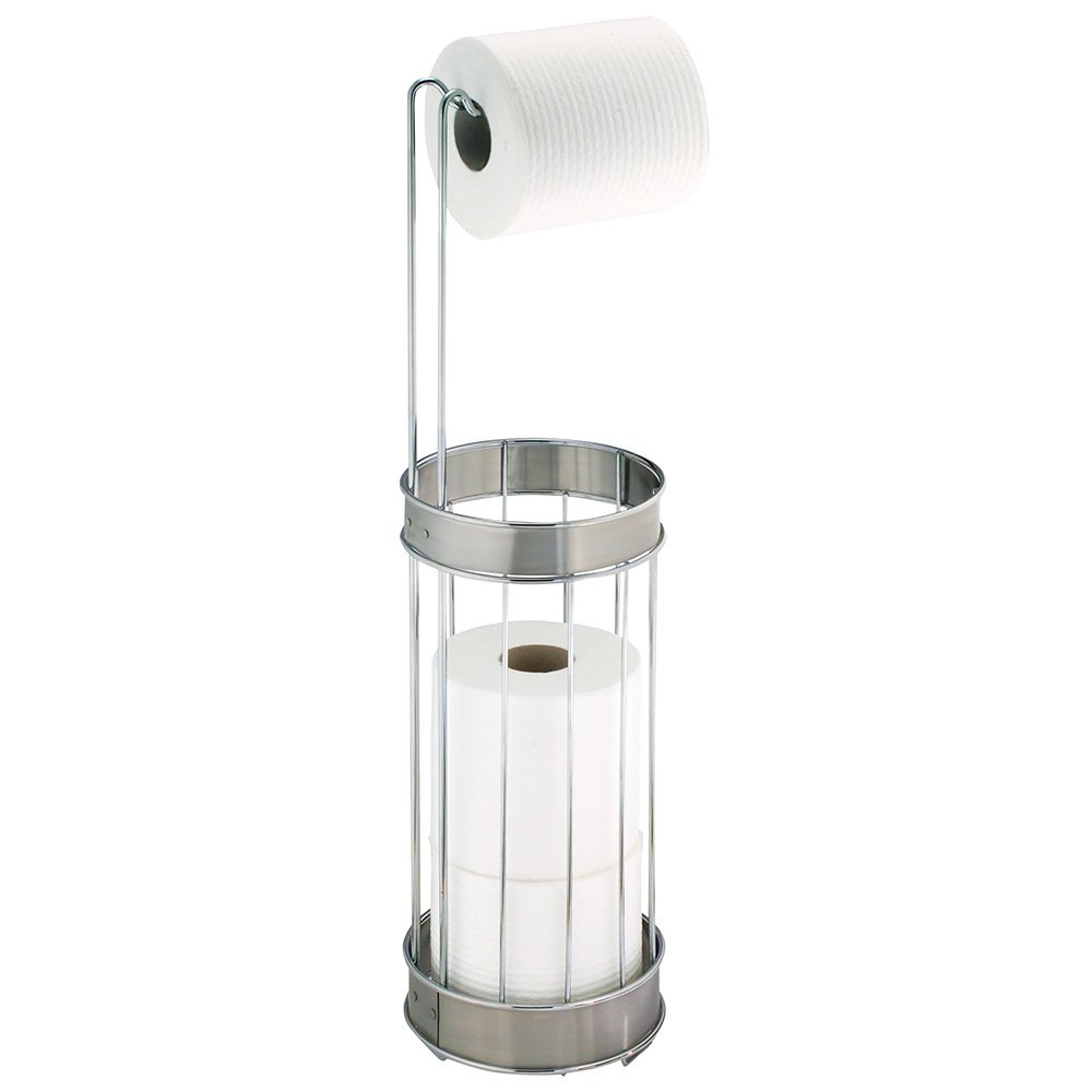 InterDesign Bruschia Free Standing Toilet Paper Holder – Dispenser and Spare Roll Storage for Bathroom, Chrome/Brushed Stainless Steel