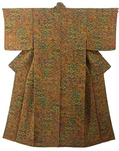 アラブ人腐敗サンダーリサイクル 着物 小紋  ちりめん 更紗文様 正絹 袷 裄62cm 身丈155cm