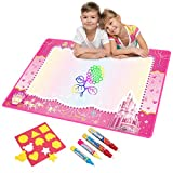 Water Doodle Mat, Water Drawing Mat Kids Toys Large Magic Toddlers Painting Board Writing Mats Scribble Boards with 4 Magic Pen and Draw Templates for Boys Girls Learning Gift Size 29 x 19 (Pink)