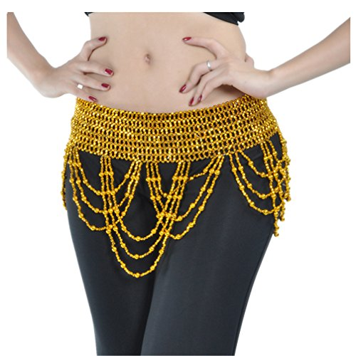 2019 Sparkling Exotic Cleopatra Wave Belly Dance Hip Scarf Elastic Beaded Belt Dance Costume Accessory(Gold)