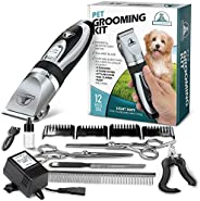 Pet Union Professional Dog Grooming Kit - Rechargeable, Cordless Pet Grooming Clippers & Complete Set of D