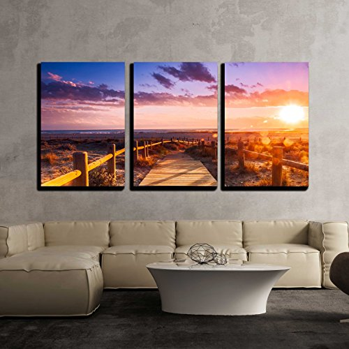 wall26 - 3 Piece Canvas Wall Art - Sunset beach near Almeria. Cabo de Gata Nijar Natural Park, Almería. Spain. Andalusia - Modern Home Decor Stretched and Framed Ready to Hang - 16''x24''x3 Panels by wall26