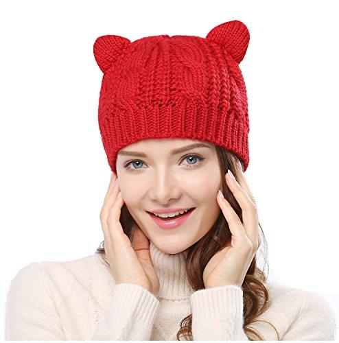 Red Hats Crochet Hat (Women's Hat Cat Ear Crochet Braided Knit Caps, Red)