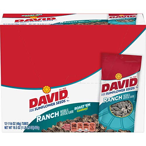 - DAVID Roasted and Salted Ranch Sunflower Seeds, 1.625 oz, 12 Pack