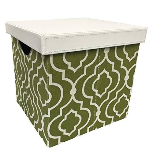 Vox Small Square Folding Non Woven Fabric Lidded Storage Box Cube Basket Organizer with Handles for Clothes Green