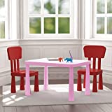 Kids Table and Chairs Set 1 Pink Table and 2 Red Chairs Children's Set Plastic Durable Easy to Clean , Great for Playing , Learning , Eating …