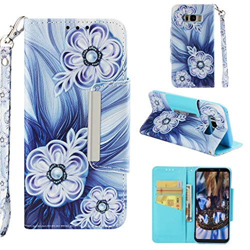 - Case for Galaxy S8+/S8 Plus,Pu Leather 3D Printing Wallet Case with Card Slot Inner Soft TPU Bumper with Magnetic Closure & Wrist Strap Compatible with Samsung Galaxy S8+/S8 Plus -Bead Flower