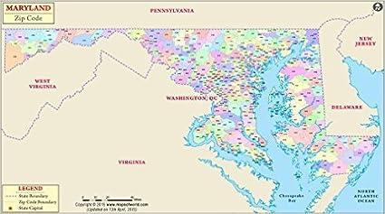 Amazon.com : Maryland Zip Code Map - Laminated (36\