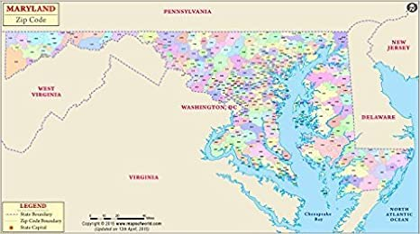 Amazon.com : Maryland Zip Code Map (36