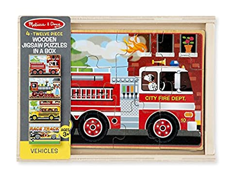 Melissa & Doug Vehicles 4-in-1 Wooden Jigsaw Puzzles in a Storage Box (48 pcs) - Doug Fire Truck