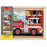 Melissa & Doug Vehicles 4-in-1 Wooden Jigsaw Puzzles in a...