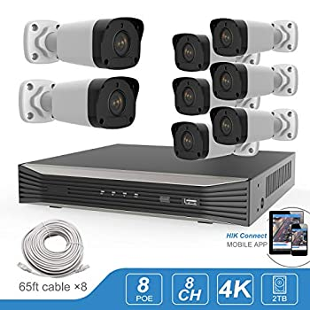 Image of Anpviz 5MP 8CH PoE IP Camera Home System, 8 Channel 8MP 4K H.265 Onvif NVR with 8pcs Outdoor 5.0MP (2560 X 1920) IP Bullet Cameras,98ft IR,Motion Detect Free APP Remote View PoE Security Camera System Surveillance NVR Kits