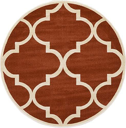 - Unique Loom Trellis Collection Moroccan Lattice Rust Red Round Rug (6' 0 x 6' 0)