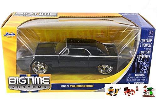 Black Thunderbird Model - Diecast Car & Free Diorama Set - 1963 Ford Thunderbird, Jet Black - JADA 90361 - 1/24 Scale Diecast Model Toy Car w/Free Diorama Set