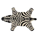 UK 2' x 3' Cute Kids Zebra Skin Shape Black White Wool Area Rug, Cotton Novely Charming Animal Africa Safari Wilderness Nature Soft Comfortable, Play Baby Youth Room Accent Carpet