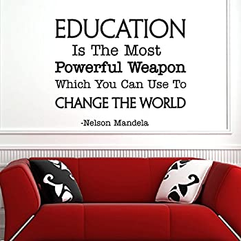 Educational Motivational Vinyl Wall Quotes   Education Is The Most Powerful  Weapon Inspirational Removable Wall Decals Part 75